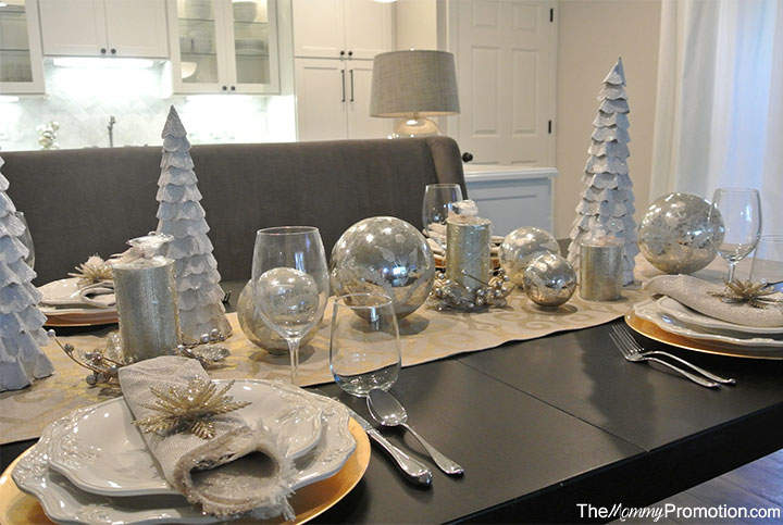 Gold and silver christmas tablescape featuring world for Burlap christmas table decorations