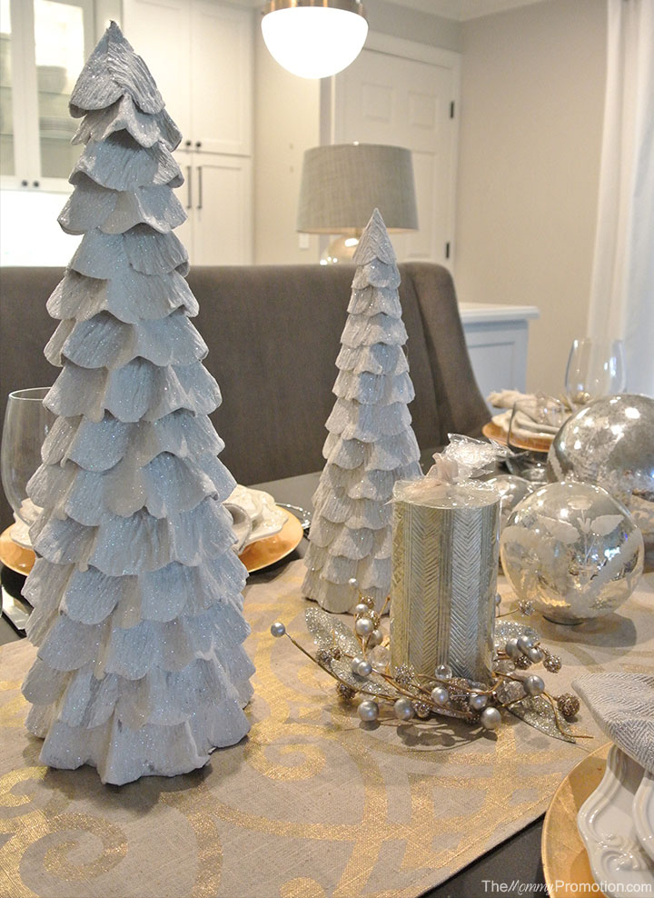 along with the different sized mercury glass spheres which sit up easily on their small flat bases i came across these unique white hand glittered trees - Decorating With Silver And Gold For Christmas