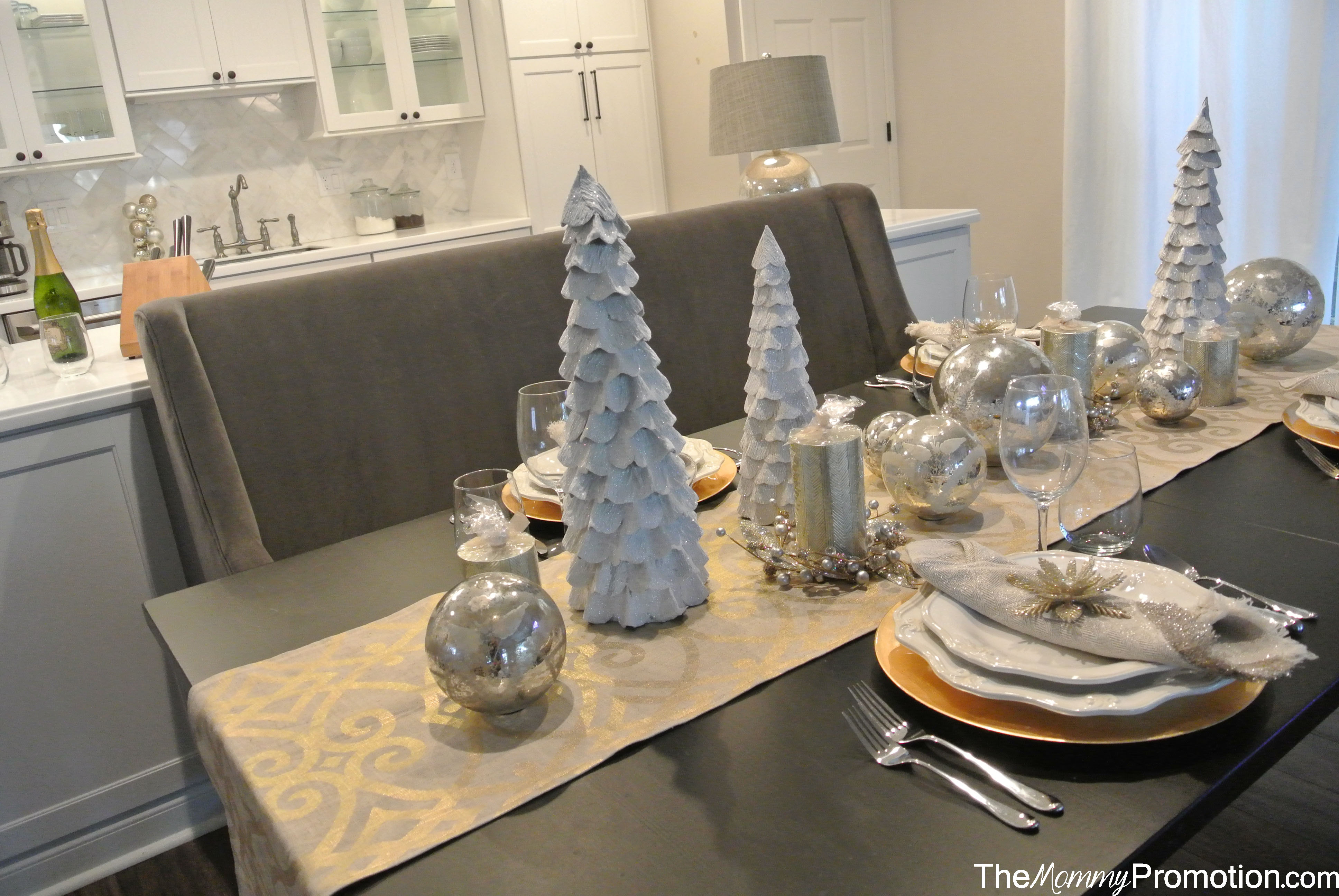 World Market Holiday Christmas Tablescape Silver Gold Burlap Trees Home Decor The Mommy Promotion
